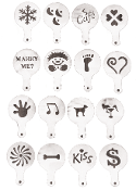 A set of 16 Designs Coffee Latte Cappuccino Art Stencils